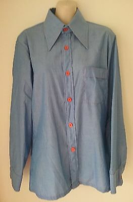 Size M Men's Blue Long Sleeve Retro Vintage 'simon Gee' Shirt - As New