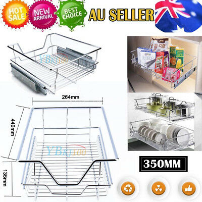 Hot Pull Out Pantry Drawer Basket Wire Tray Dish Rack Cabinet Storage For 350MM