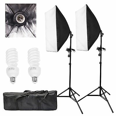 2x Softbox Lighting Set 2x 135W Glühlampen+ 2x Lampenstativ Fotostudio lampe Set
