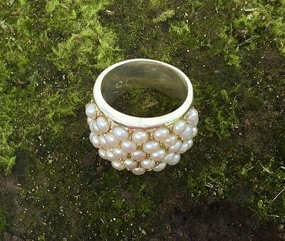 @d104 Beautiful White Pearl Ring Sterling Silver 925 Lotustraders Made To Order