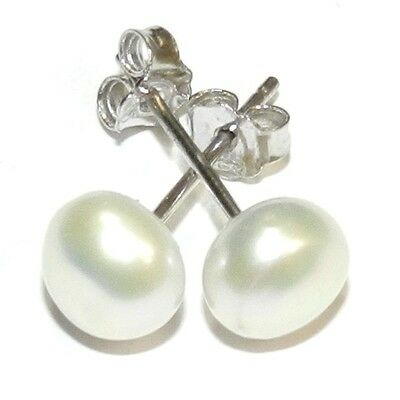 E195 White 6mm Round Button Cultured Freshwater Pearl Silver Brass Post Earrings