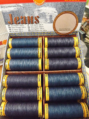 Gutermann Jeans Sewing Thread  Stonewash PolyCotton Dark Blue Denim 100 M Reel