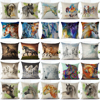 18'' Retro Horse Pillow Cases Cotton Linen Sofa Cushion Cover Xmas Home