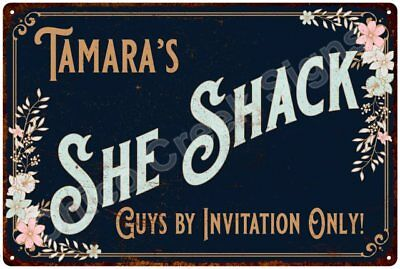 Tamara's SHE SHACK Vintage Look Sign 12x18 Victorian Metal Wall Décor 2181555