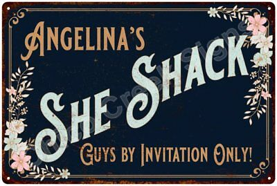 Angelina's SHE SHACK Vintage Look Sign 12x18 Victorian Metal Wall Décor 2181740