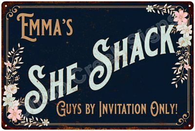 Emma's SHE SHACK Vintage Look Sign 12x18 Victorian Metal Wall Décor 2181460