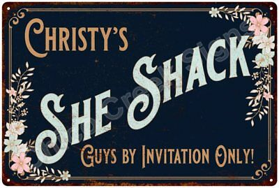 Christy's SHE SHACK Vintage Look Sign 12x18 Victorian Metal Wall Décor 2181586