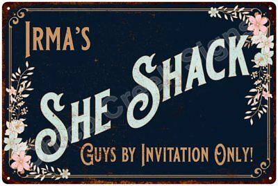 Irma's SHE SHACK Vintage Look Sign 12x18 Victorian Metal Wall Décor 2181581