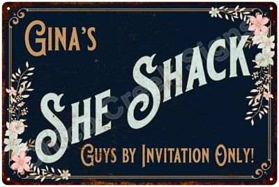 Gina's SHE SHACK Vintage Look Sign 12x18 Victorian Metal Wall Décor 2181539