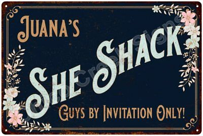 Juana's SHE SHACK Vintage Look Sign 12x18 Victorian Metal Wall Décor 2181689