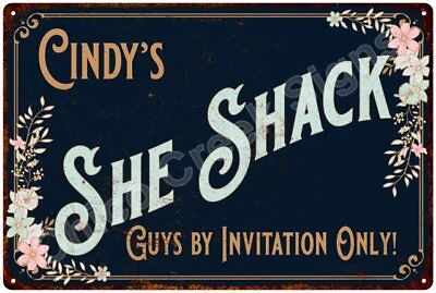 Cindy's SHE SHACK Vintage Look Sign 12x18 Victorian Metal Wall Décor 2181439