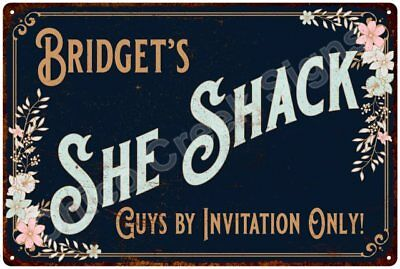 Bridget's SHE SHACK Vintage Look Sign 12x18 Victorian Metal Wall Décor 2181695