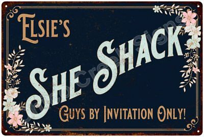Elsie's SHE SHACK Vintage Look Sign 12x18 Victorian Metal Wall Décor 2181524