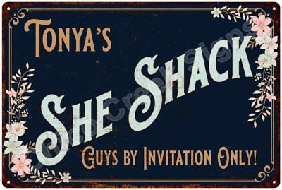 Tonya's SHE SHACK Vintage Look Sign 12x18 Victorian Metal Wall Décor 2181535