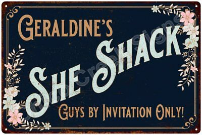 Geraldine's SHE SHACK Vintage Look Sign 12x18 Victorian Metal Wall Décor 2181487