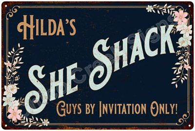 Hilda's SHE SHACK Vintage Look Sign 12x18 Victorian Metal Wall Décor 2181589