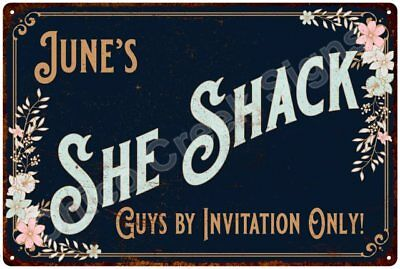 June's SHE SHACK Vintage Look Sign 12x18 Victorian Metal Wall Décor 2181502