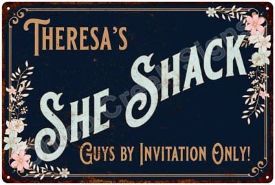 Theresa's SHE SHACK Vintage Look Sign 12x18 Victorian Metal Wall Décor 2181398