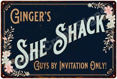 Ginger's SHE SHACK Vintage Look Sign 12x18 Victorian Metal Wall Décor 2181754