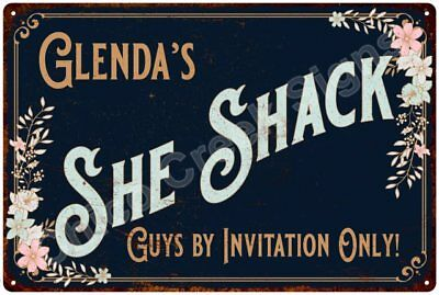 Glenda's SHE SHACK Vintage Look Sign 12x18 Victorian Metal Wall Décor 2181568