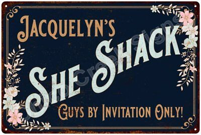 Jacquelyn's SHE SHACK Vintage Look Sign 12x18 Victorian Metal Wall Décor 2181708
