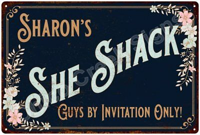 Sharon's SHE SHACK Vintage Look Sign 12x18 Victorian Metal Wall Décor 2181346