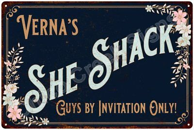 Verna's SHE SHACK Vintage Look Sign 12x18 Victorian Metal Wall Décor 2181685