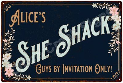 Alice's SHE SHACK Vintage Look Sign 12x18 Victorian Metal Wall Décor 2181377