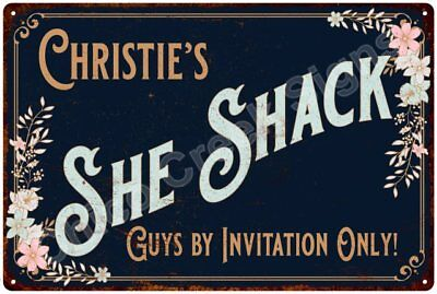 Christie's SHE SHACK Vintage Look Sign 12x18 Victorian Metal Wall Décor 2181757