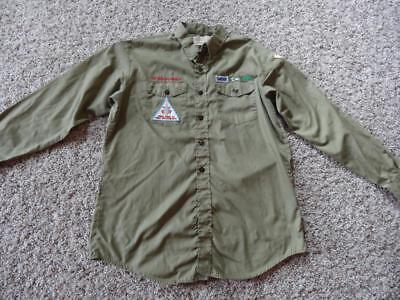 Vintage BSA BOY SCOUTS of AMERICA CUB MASTER GREEN L/S SHIRT   Size L  WISCONSIN