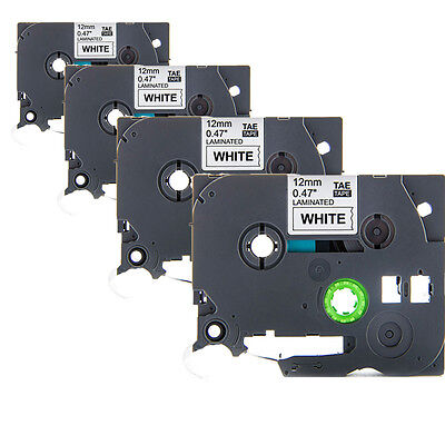 "4 Pack Black on White Label Tape TZ231 TZe231 12mm (1/2"") 8m for Brother P-Touch"