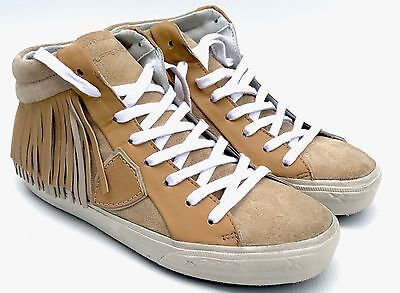 PHILIPPE MODEL 'Alta Donna' Women's Brown Fringed Leather Sneakers - UK 2.5/3/4