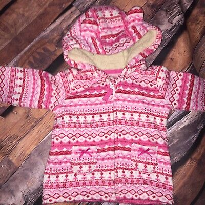 3-6 Months Baby Girl Pink Coat Hoody Jacket Winter Warm Excellent Condition