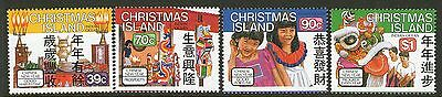 CHRISTMAS Is, 1989 CHINESE NEW YEAR 4 MNH