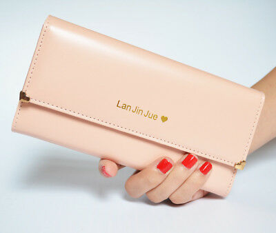 Women Ladies Leather Clutch Wallet Pink Long Card Holder Purse Fashion Handbag