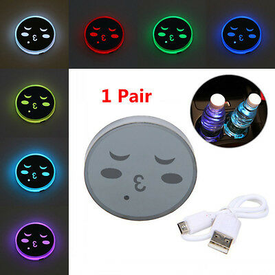 2pcs IP67 Universal Car Cup Mat Holder 7Color RGB LED USB Charger Light Cover