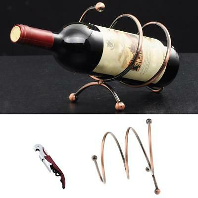 Set of 2, Antique Red Wine Rack Kitchen Organiser Holder with Corkscrew