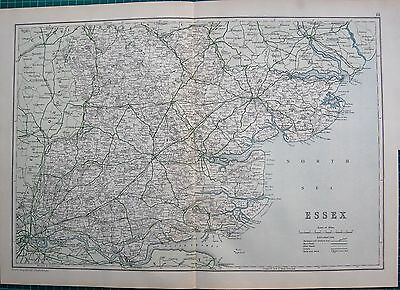 1912 Ca LARGE MAP-BACON - COUNTY OF ESSEX, CHELMSFORD, HARWICH, HARLOW, ROMFORD