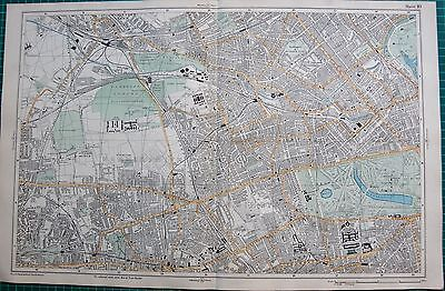 1912 Ca LARGE MAP-BACON -LONDON-KENSINGTON, PADDINGTON, SHEPHERDS BUSH, HAMMERSM