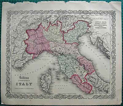 1855 Large Antique Map-Colton- Italy North