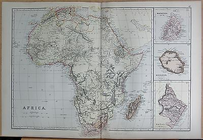 1882 Large Antique Map - Africa, Insets Mauritius Bourbon (Reunion) Natal