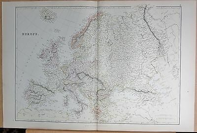 1882 Large Antique Map - Europe
