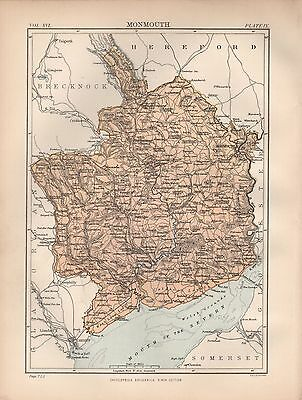 1880 ca ANTIQUE COUNTY MAP-MONMOUTH,NEWPORT,ABERGAVENNY,CHEPSTOW