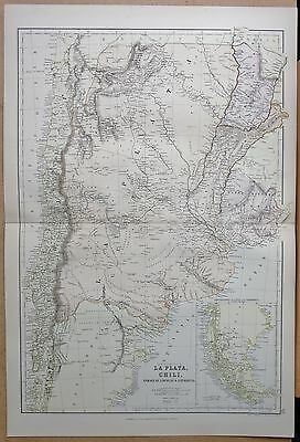 1882 Large Antique Map - Argentina La Plata Chile Paraguay Uruguay Patagonia