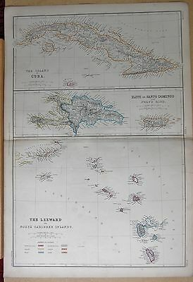 1860  Large Antique Map - Cuba, Haiti, Puerto Rica, Leeward Islands