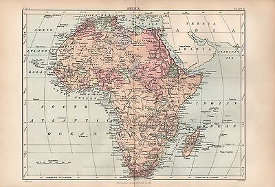 1880 ca ANTIQUE MAP- AFRICA, GENERAL MAP