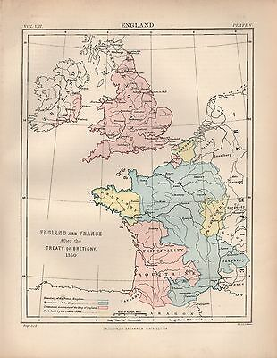 1880 ca ANTIQUE MAP-EMGLAND AND FRANCE AFTER TREATY OF BRETIGNY 1360
