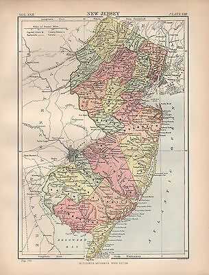 1880 ca ANTIQUE STATE MAP-USA-NEW JERSEY