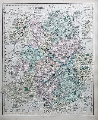 1845  Large Antique County Map - Railways, Shropshire Shiffnal Oswestry Ludlow