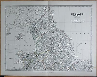 1874  Large Antique Map - Johnston- England And Wales Northern